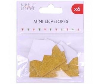 Mini ümbrikud, 3x4,5cm, 6tk pakis - Kuldsed