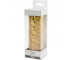 Foolium rullis dekoreerimiseks hologramm/kuldne , 15,5 cmx50 cm