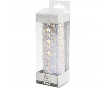 Foolium rullis dekoreerimiseks hologramm/hõbedane, 15,5 cmx50 cm