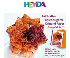 Origami paber Heyda ORANZ/VIOLETT, 70g/m² 64 lehte - 15x15cm