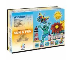 Aknavärvide komplekt Nerchau Sun&Fun - 6 värvi + kontuur