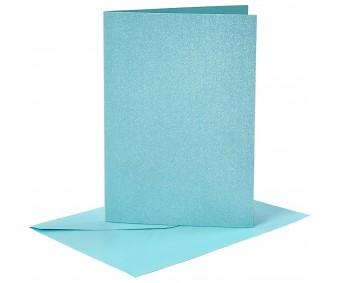 Kaarditoorikute ja ümbrike komplekt A6, 4+4 tk - sinine metallik
