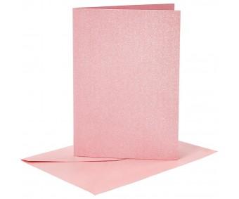 Kaarditoorikute ja ümbrike komplekt A6, 4+4 tk - roosa metallik