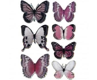 3D kleebised - liblikad, roosa, 7 tk