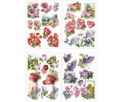 Paberilõiked 3D, 4 lehte - Lilled, liblikad
