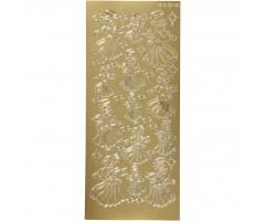 Kontuurkleebis 10x23 cm - inglid, kuld