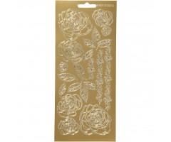Kontuurkleebis 10x23 cm - roosid, kuld