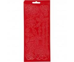 Kontuurkleebis 10x23 cm - roosid, punane