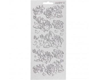 Kontuurkleebis 10x23 cm - roosid, hõbe