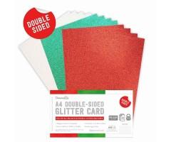 Glitter-kartong, kahepoolne, A4, 350g/m² - punane, roheline, valge