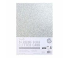 Glitter-kartong, kahepoolne, A4, 350g/m² - hõbe