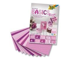 Motiivpaberite plokk Folia Basics 24x34cm, 30 lehte - roosa