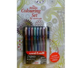 Värvimiskomplekt - Uni-Ball Signo Metallic Ink geelpliiatsid + värviraamat
