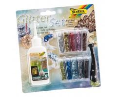 Glitterpurude komplekt Folia - 10 värvi + liim