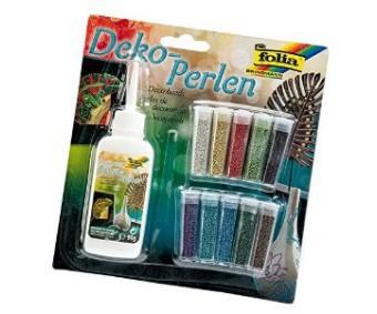 Glitter-pärlite komplekt Folia - 10 värvi + liim