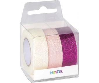 Dekoratiivteip  3 x 15mmx5m - sädelevad roosad toonid - Heyda