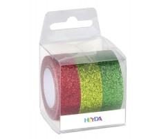 Dekoratiivteip  3 x 15mmx5m - sädelevad, punane, roheline, heleroheline - Heyda