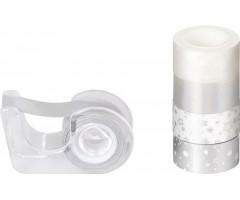 Dekoratiivteip+alus, hõbedane-valge,12mmx3m, 5tk pakis - Heyda
