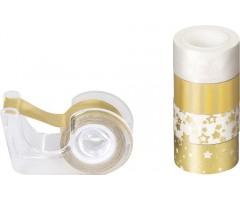 Dekoratiivteip+alus, kuldne-valge,12mmx3m, 5tk pakis - Heyda