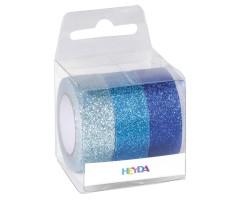 Dekoratiivteip  3 x 15mmx5m - sädelevad sinised toonid - Heyda