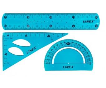 Koolikomplekt Linex (joonlaud, mall, kolmnurk), painduv - sinine
