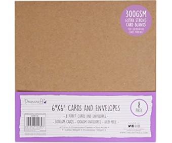 Kaardid ja ümbrikud, 15,5x15,5cm, 8 tk pakis,naturaalpruun, Dovercraft