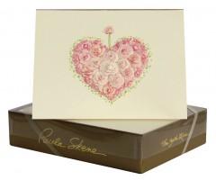 Õnnitluskaart + ümbrik Paula Skene, 117x158mm - roosidest süda