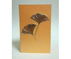 Õnnitluskaart + ümbrik Paula Skene, 82x131mm - ginkgo, oranž