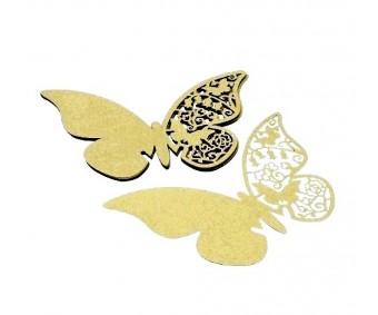 Kohakaart klaasile, laserlõikega, 10 tk, liblikas - Beige Gold