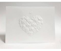 Õnnitluskaart + ümbrik Paula Skene, 117x158mm - valge roosidest süda