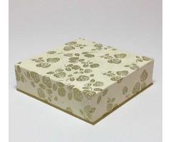 Karp Nepaali paberiga - 11x11x4 cm, kuldsed roosid