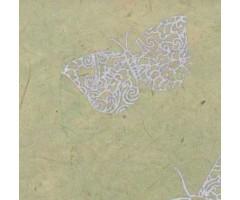 Karp Nepaali paberiga - 11x11x4 cm, Liblikad - sinakasroheline/hõbe