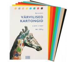 Värviline kartong 225g/m², 8 lehte - A4