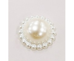 Kaunistus pärl loodusvalge - ring, 19mm