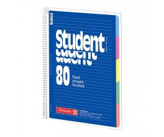 Spiraalkaustik Student A4, 80 lehte, jooneline, BRUNNEN