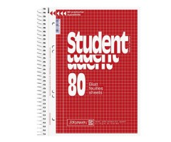 Spiraalkaustik Student A4, 80 lehte, 5x5 ruut, BRUNNEN