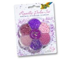 Pärlite komplekt Folia 90g - roosa, lilla