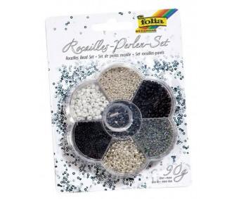 Pärlite komplekt Folia 90g - must, valge, hõbedane