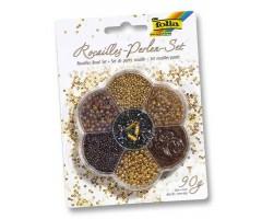 Pärlite komplekt Folia 90g - pruun, kuldne