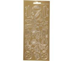 Kontuurkleebis 10x23 cm - hobid, kuldne