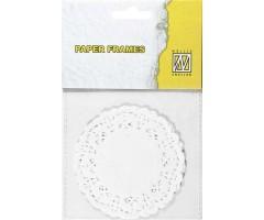 Paberlõiked valge pitsiline ring, diam. 89mm 12tk
