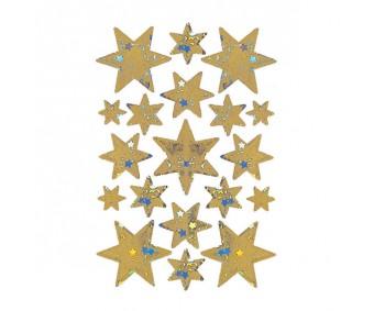 Kleepsud Decor - hologrammiga tähed, kuld