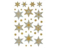 Kleepsud Decor - hõbedased tähed kuldse mustriga