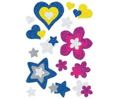 Kleepsud Magic - sädelevad südamed, lilled, tähed