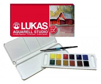 Akvarellvärvide komplekt Lukas Aquarell Studio - 12 värvi + pintsel