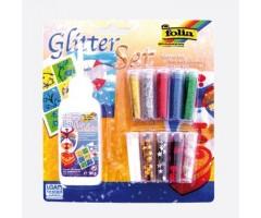 Glitterpurude ja litrite komplekt Folia - 10 värvi + liim