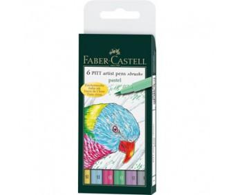 Pintsel-pliiatsite komplekt Faber-Castell Pitt - Pastel, 6 tk