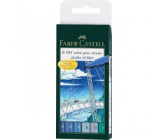 Pintsel-pliiatsite komplekt Pitt - sinised toonid, 6 tk - Faber-Castell
