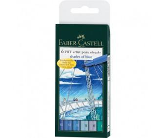 Pintsel-pliiatsite komplekt Faber-Castell Pitt - sinised toonid, 6 tk