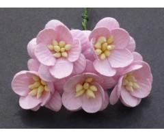 Paberlilled mooruspuu paberist (mulberry) - kirsiõied 5 tk, baby pink